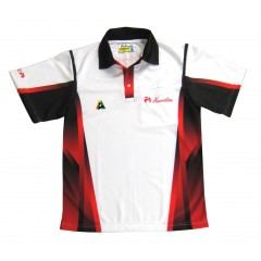 Henselite Mens Tournament Polo - Red/Black/White